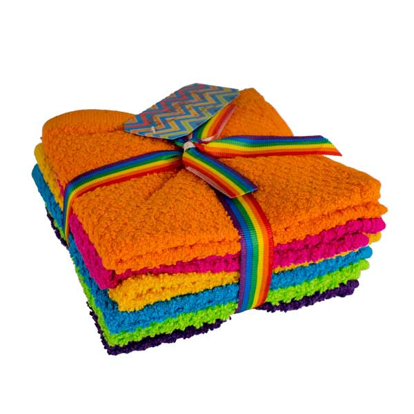 "Deluxe Brights 12"" x 12"" Washcloth Assorted Pack of 6"