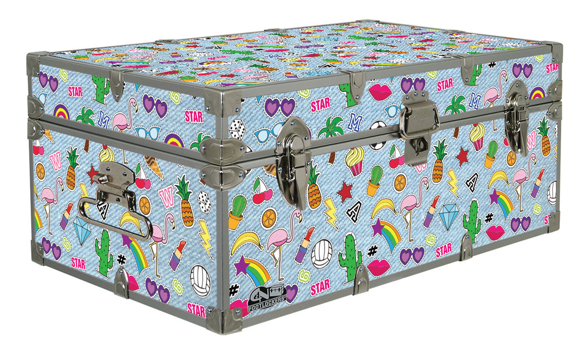 Designer Trunk - Denim Patches - 32x18x13.5""