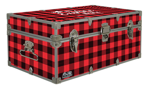 Designer Trunk - Explore More Red Buffalo Plaid  - 32x18x13.5""