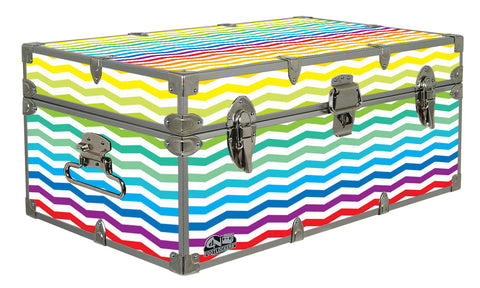 Designer Trunk - Rainbow Chevron Stripes - 32x18x13.5""
