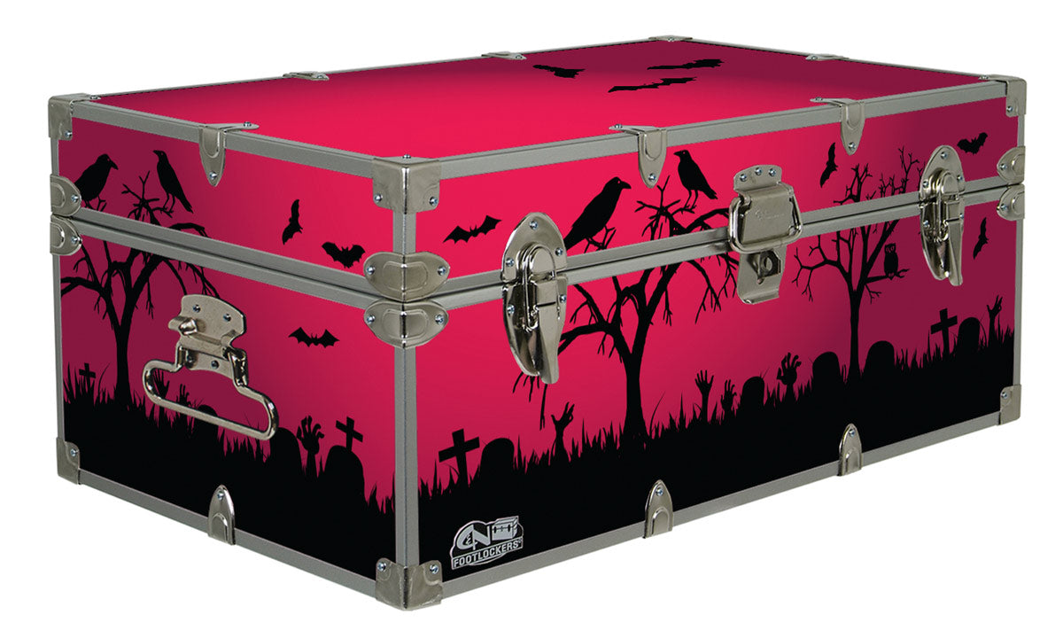 Halloween Decoration Storage Footlocker Trunk - Crows - 32 x 18 x 13.5 Inches