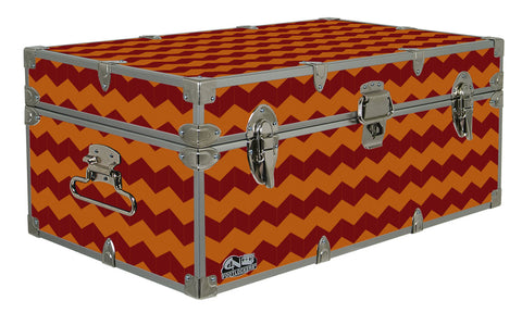 Halloween Decoration Storage Footlocker Trunk - Fall Chevrons - 32 x 18 x 13.5 Inches