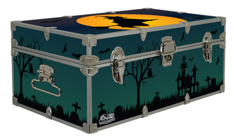 Halloween Decoration Storage Footlocker Trunk - Flying Witch - 32 x 18 x 13.5 Inches