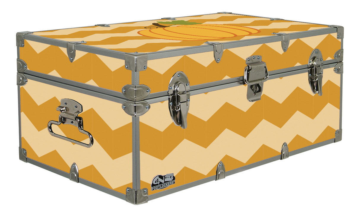Halloween Decoration Storage Footlocker Trunk - Pumpkin Chevrons - 32 x 18 x 13.5 Inches
