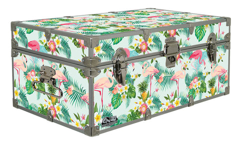 Designer Trunk - Tropical Flamingoes - 32x18x13.5""
