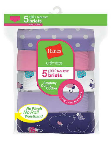 Hanes Girls Ultimate® Stretchy Comfy Cotton Briefs 5-Pack