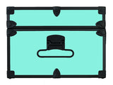 Happy Camper Camp Footlocker with black trim showing the side of the trunk