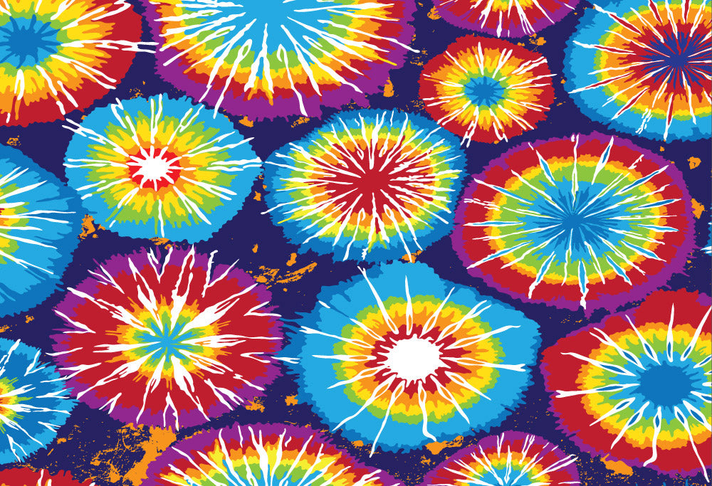 ESC Personalized Camp Floor Mat - Tie Dye Bursts