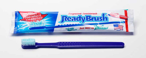 ReadyBrush Ortho - Pack of 30 Pre-Toothpasted Single-Use Toothbrushes (for Braces)