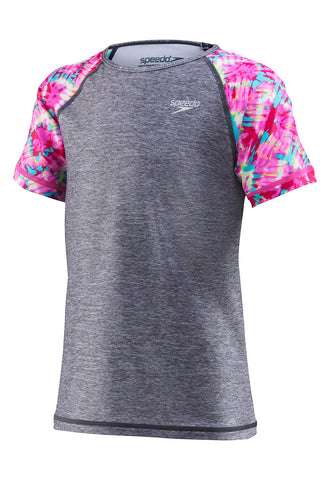 Speedo Girls Short Sleeve Print Rashguard Top|7714724064