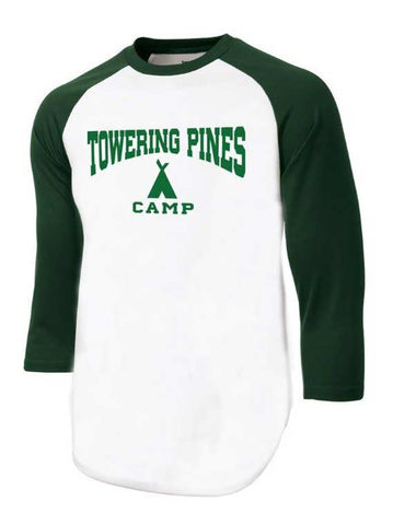 Towering Pines Camp Baseball Tee