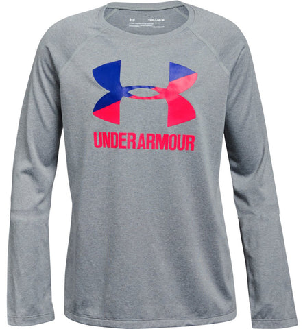 Under Armour Girls Big Logo Long Sleeve Tee