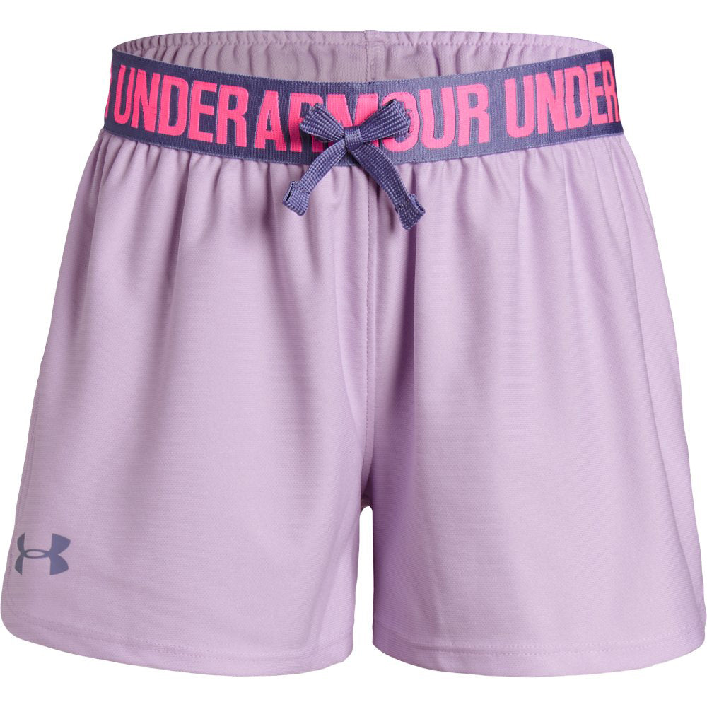 bnwt girls  under armour shorts-size ylg loose fit-blue-yellow design