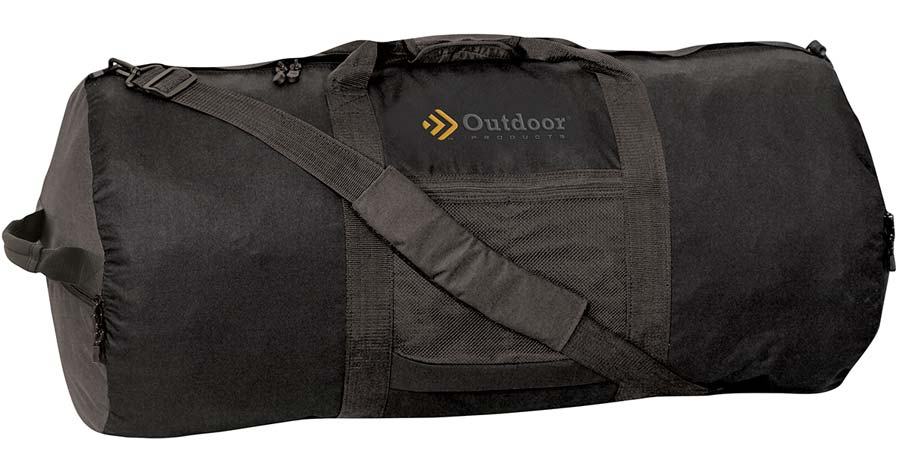 Outdoor Products Large Utility Duffel Bag folded up and stored inside the bag's pocket