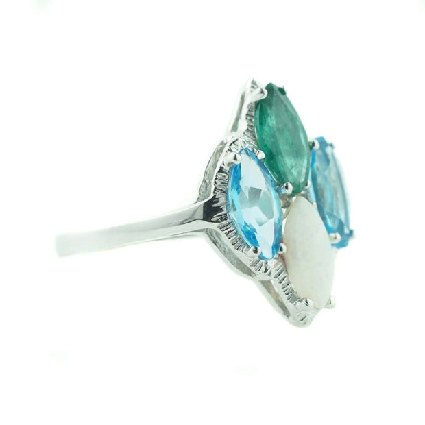 blue topaz, emerald, opal, blue topaz ring, emerald ring, opal ring, mothers day, december birthstone, may birthstone, october birthstone, white gold, gems and jewels for less, jewelsforless, 14K white gold, best price gemstone jewelry