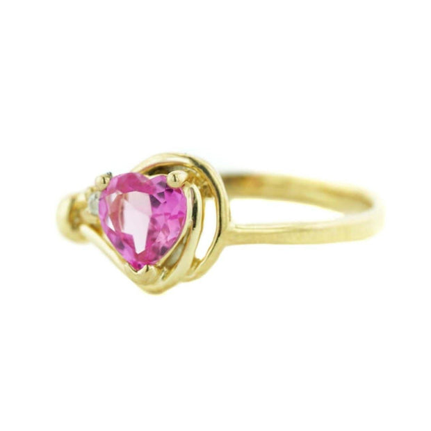 pink sapphire, sapphire heart, yellow gold, women's ring, knot ring, celtic jewelry, fine jewelry, alternative engagement ring, mothers day, fine jewelry, gems and jewels for less, jewelsforless, best price
