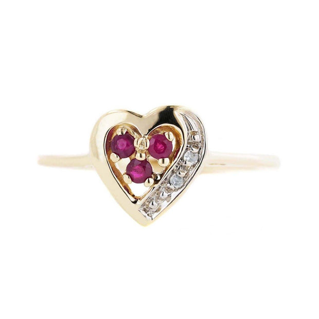 women's ring, heart ring, yellow gold, rubies, july birthstone, white sapphires, mothers day, best price, fine jewelry, gems and jewels for less, jewelsforless, love, alternative engagement ring, best price