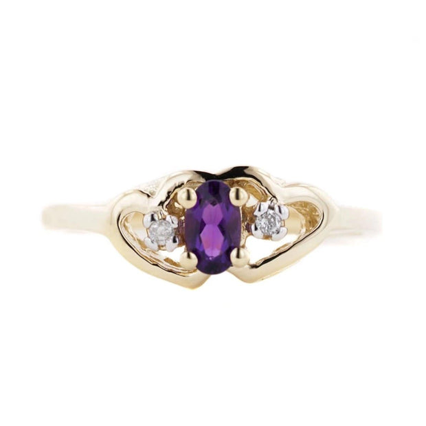 Amethyst Heart - Solid 14K Yellow Gold