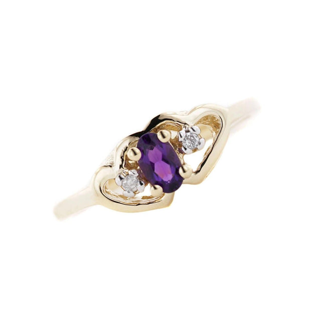 Amethyst heart ring, heart amethyst ring, amethyst rings, amethyst gold ring, amethyst ring etsy, double heart ring, gems and jewels for less, gjfl