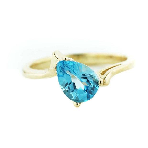 Blue Topaz Pear Shape - 14K Yellow Gold