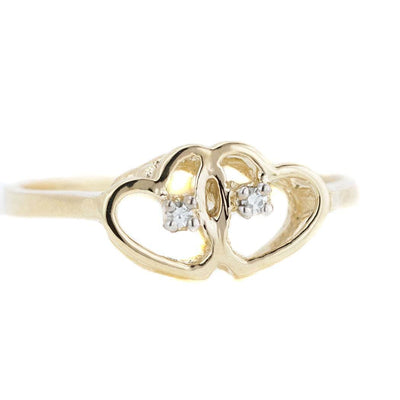 mothers day, diamond ring, heart ring, yellow gold, 14k gold ring, 14k diamond ring, double heart ring, women's ring, woman ring, best price, fine jewelry, love ring, gems and jewels for less