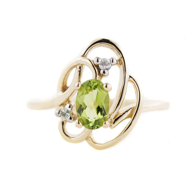 peridot, peridot ring, white sapphire, gold ring, natural ring, august birthstone, gems and jewels for less, jewelsforless, mothers day, fine jewelry, gemstone jewelry, best price, jewelry that sparkles