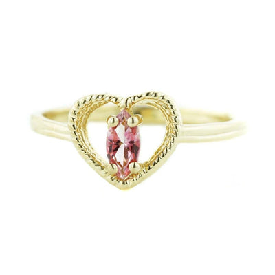 Quinceanera, natural gemstones, natural pink tourmaline, heart ring, gold ring, 14k gold, mothers day, gems and jewels for less, jewelsforless, fine jewelry, best price, october birthstone