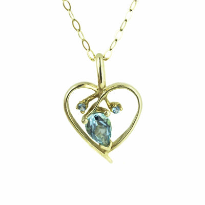 blue topaz necklace, blue jewels, blue topaz, december birthstone, month birthstone, birthstone jewelry, jewels, necklace, heart necklace, pear shape blue topaz, gems and jewels for less, gold necklace, heart necklace, gjfl, jewelsforless