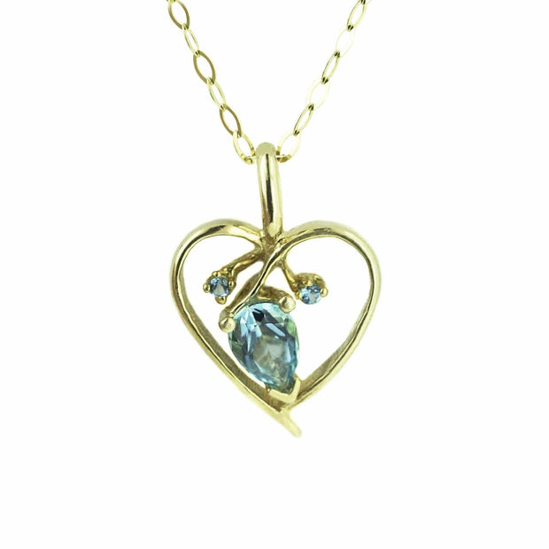 blueblue topaz necklace, blue topaz heart necklace, blue topaz charm, heart necklace, heart charm, gold heart necklace, gems and jewels