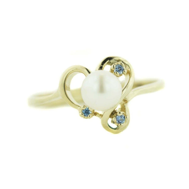 pearl ring, blue topaz, women's ring, yellow gold, designer ring, solid gold, gems and jewelsforless, jewelsforless, mothers day, graduation ring, birthstone ring, june birthstone, december birthstone