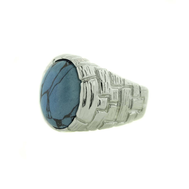 december birthstone, men's ring, turquoise ring, men's turquoise ring, matrix, hemetite, father's day, gents ring, heavy stone ring, gems and jewels for less, jewelsforless, silver ring, men's silver ring, blue stone