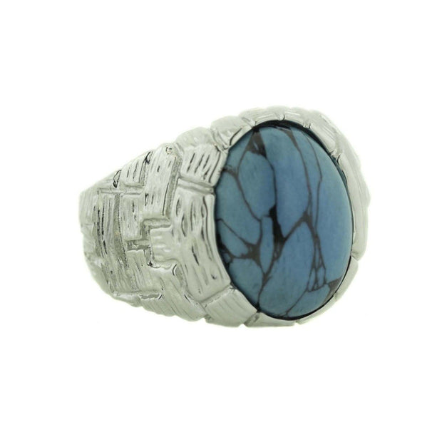 december birthstone, mexican silver ring, men's ring, turquoise ring, men's turquoise ring, matrix, hemetite, father's day, gents ring, heavy stone ring, gems and jewels for less, jewelsforless, silver ring, men's silver ring, blue stone, mens fashion rings