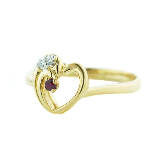 july birthstone, ruby, ruby ring, july birthstone, 14k gold, heart ring, white sapphire, yellow gold, quinceanera, september birthstone, sapphire, mothers day, fine jewelry, gems and jewels for less, jewelsforless