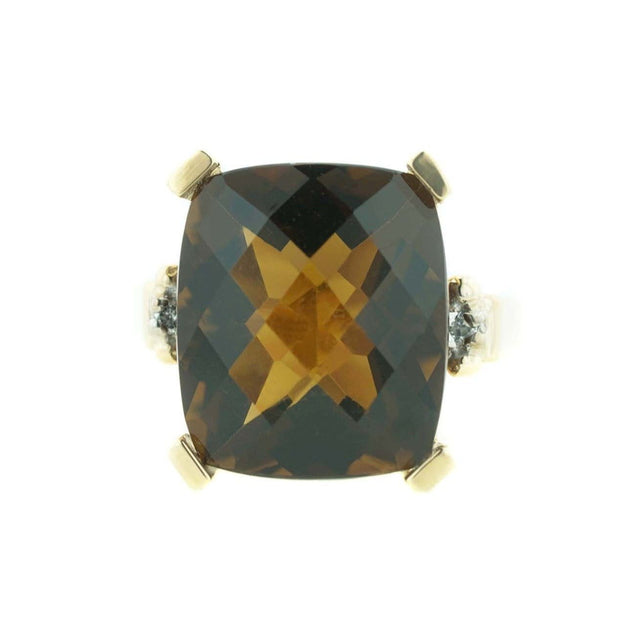 smoky quartz, smoky topaz, women's ring, woman ring, heavy stone ring, solid gold, fine jewelry, large ring, zales, kay, brown stone, quartz, best price, wholesale jewelry, wholesale ring, sale, jewelry on sale, gems and jewels for less