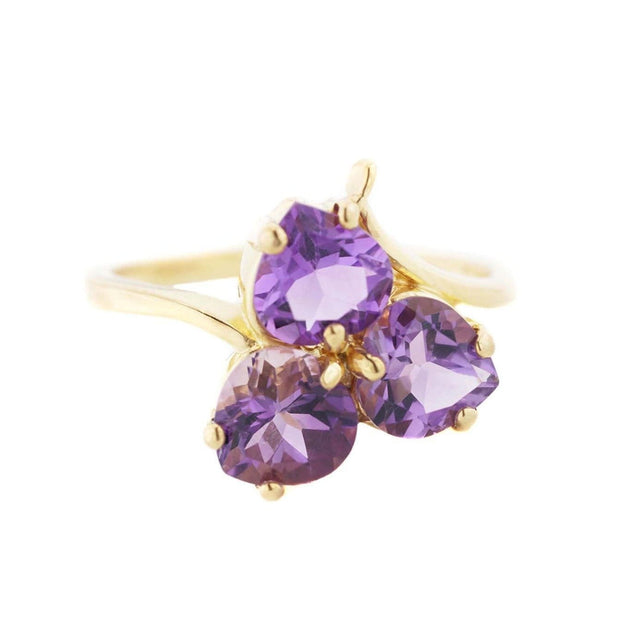 Women's ring, heart ring, amethyst ring, february birthstone, yellow gold, mothers day, trilogy ring, gems and jewels for less, jewelsforless, best price, fine jewelry, gemstone ring
