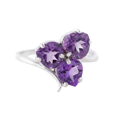 three stone amethyst ring, amethyst ring, heart ring, white gold, gemstone jewelry, mothers day, gems and jewels for less, jewelsforless, best price
