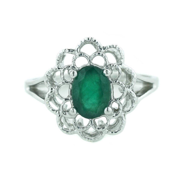 women's ring, may birthstone, emerald is the birthstone for may, best price emerald, white gold, 14k white gold, gift for mom, heavy stone ring, woman in gold, house of gold, jewels, kay, white gold, mothers day