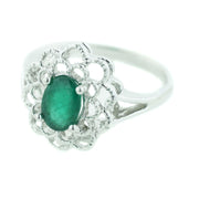 women's ring, may birthstone, emerald is the birthstone for may, best price emerald, white gold, 14k white gold, gift for mom, heavy stone ring, woman in gold, house of gold, jewels, kay, white gold, mothers day, gold emerald ring