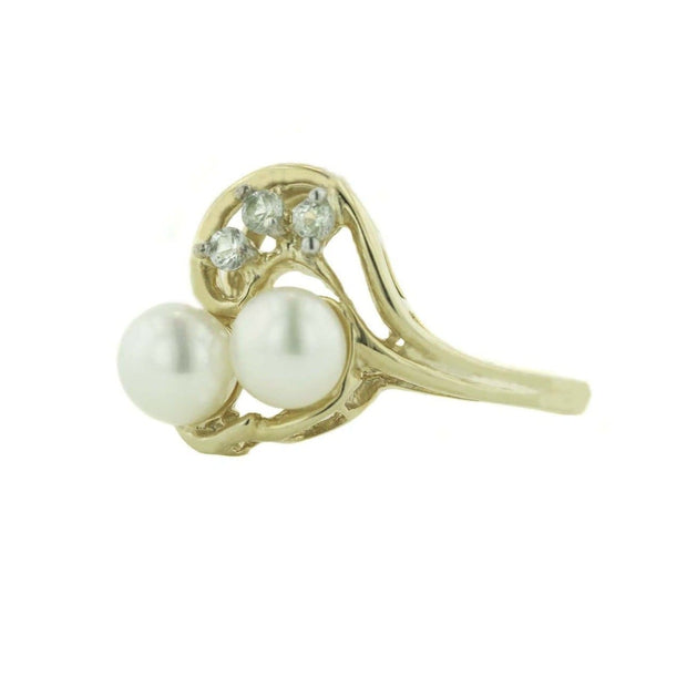 pearl, pearl cluster, pearl duo, white sapphire, pearl and white sapphire, sapphire, 14k gold, yellow gold, mothers day, best price, gems and jewels for less, jewelsforless, solid gold, pearls, freshwater pearls, pearl ring gold