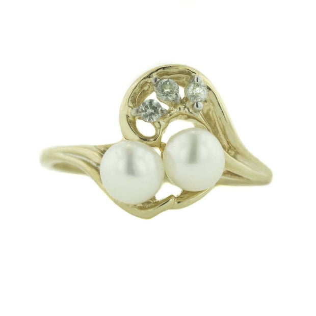 pearl, pearl cluster, pearl duo, white sapphire, pearl and white sapphire, sapphire, 14k gold, yellow gold, mothers day, best price, gems and jewels for less, jewelsforless, solid gold, pearls, freshwater pearls
