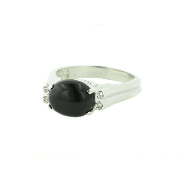 black onyx, women's ring, black onyx women's ring, white sapphires, white gold, women's white gold ring, burnish setting, tailored design, mothers day, alternative engagement ring, gems and jewels, black engagement ring
