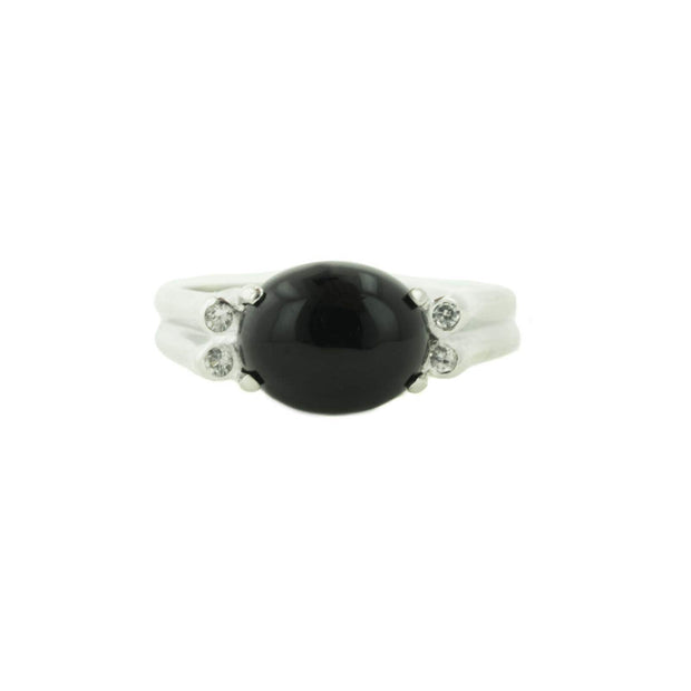 black onyx, women's ring, black onyx women's ring, white sapphires, white gold, women's white gold ring, burnish setting, tailored design, mothers day, alternative engagement ring, gems and jewels for less, jewelsforless, gjfl