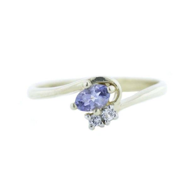 Tanzanite and White Sapphire Ring - 14K Gold