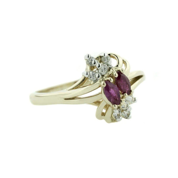 ruby ring, women's ring, white sapphire, ruby july birthstone, july birthstone, ruby marquise ring, 14k ruby ring, gjfl, gems and jewels for less, jewelsforless, ring price, jewelry, gemstone ring, precious gemstone