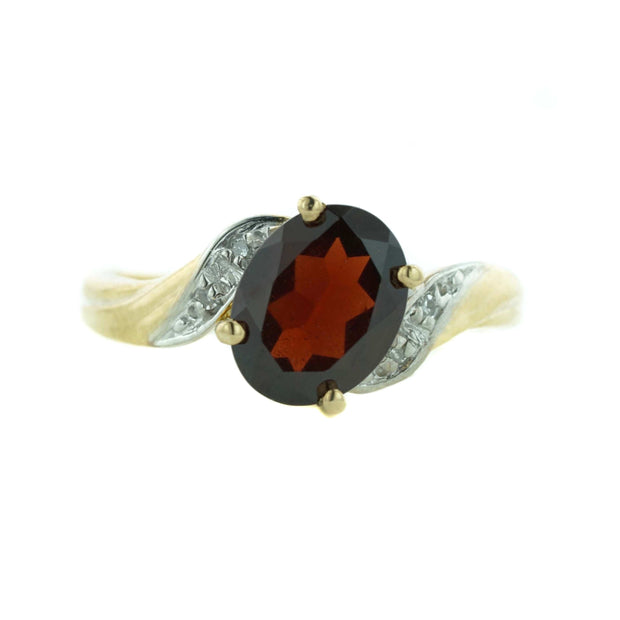 garnet, january birthstone, gemstone jewelry, 14k yellow gold, garnet ring, women's ring, diamond ring, mothers day, gems and jewels for less, jewelsforless, ring, gemstone ring, garnet and diamond ring
