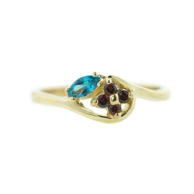 women's ring, woman ring, blue topaz ring, garnet ring, gold ring, 14k gold, fine jewelry, flower ring, zales, kay, best price, wholesale jewelry, cheap ring, fine jewelry, gemstone jewelry, gift for mom, mothers day, gems and jewels for less, jewelsforless
