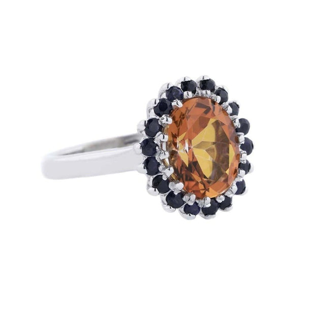 Fire Opal with Blue Sapphire - 925 Silver
