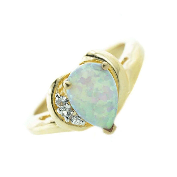opal rings, opal ring, pear shape opal ring, opal and diamond ring, opal engagement ring, 14k yellow gold opal ring, october birthstone, opal october birthstone, opals, gold ring with opal, gems and jewels for less, gjfl