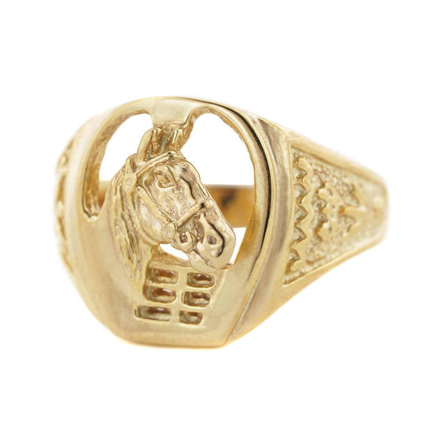 Horse ring, men's ring, equestrian ring, 14K yellow gold men's ring, 14K white gold men's ring, mens horse ring, designer ring