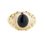 Black Onyx Men's Ring - 14k over Silver